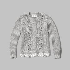girls lace hem sweater