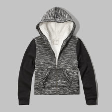 girls sherpa lined colorblock hoodie