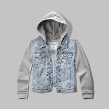 girls denim hoodie jacket