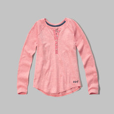 girls texture panel henley