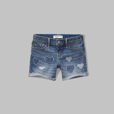 girls a&f midi denim shorts