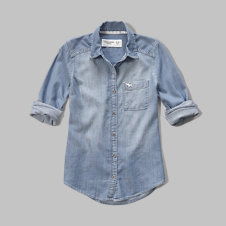 girls washed denim shirt