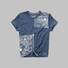 girls patchwork tie front tee
