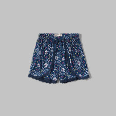 girls lace trim tulip shorts