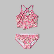 girls long long two-piece swimsuit