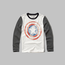 girls glow in the dark captain America graphic tee
