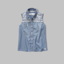 girls embroidered chambray shirt