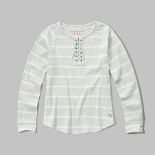 girls drapey lace up tee