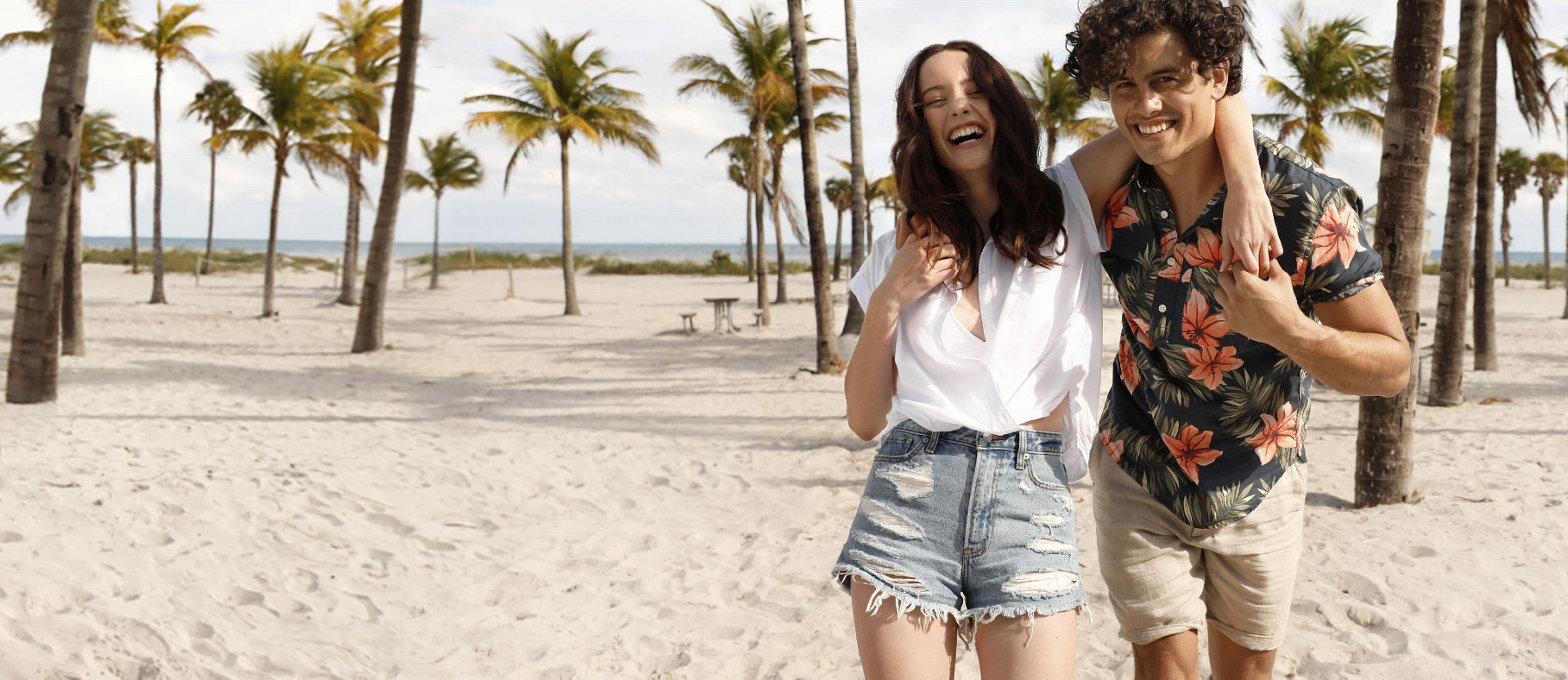 man and woman wearing A&F