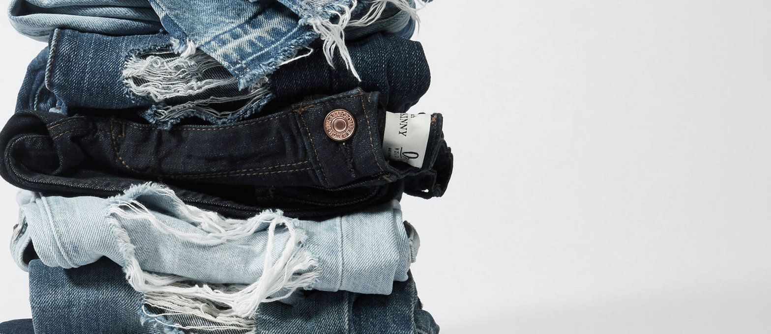 Stack of folded jeans.