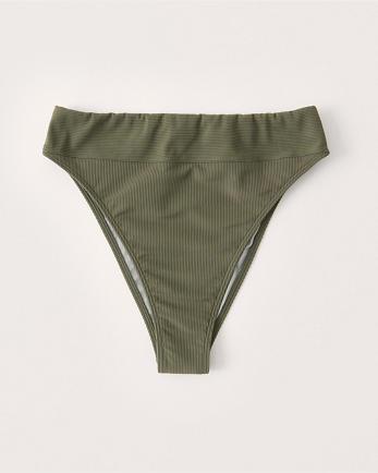 ANFHigh-Waist Cheeky Ribbed Bikini Bottoms