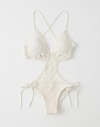 e627bbb687d ... CREAM Crochet One Piece Swimsuit, CREAM, Alternate