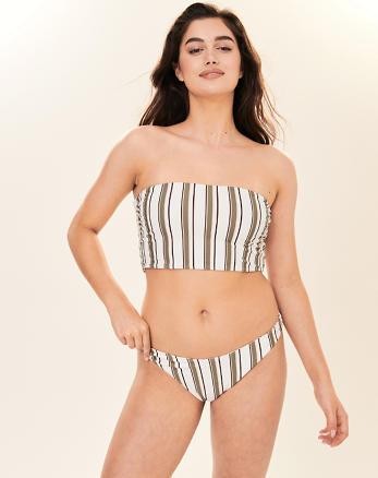 57339a7631c Reversible High-Leg Brazilian Bikini Bottom, FLORAL AND OLIVE GREEN STRIPE