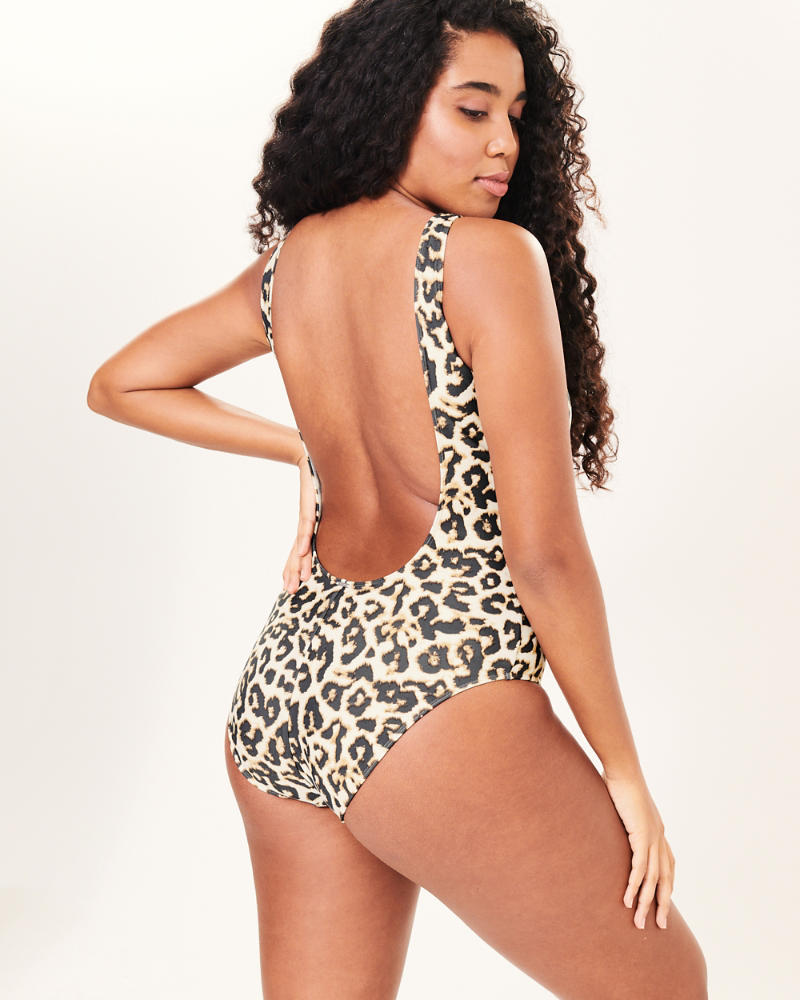 f63b2243f4f Womens Leopard Print Scoopneck One Piece Swimsuit   Womens Swimwear ...