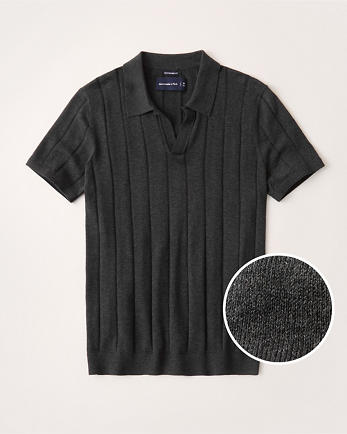 ANFPima Cotton Johnny Collar Knit Polo