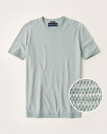 ANFPima Cotton Textural Knit Striped Tee
