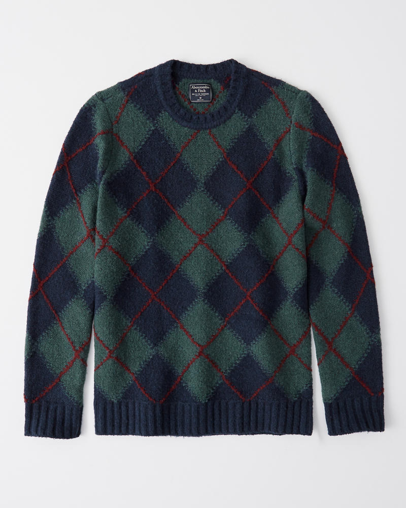 Cozy Argyle Crew Sweater by Abercrombie & Fitch