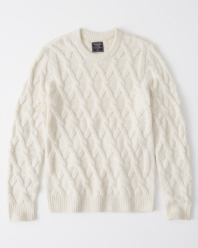 Mens Cozy Cable Knit Sweater Mens New Arrivals Abercrombiecom