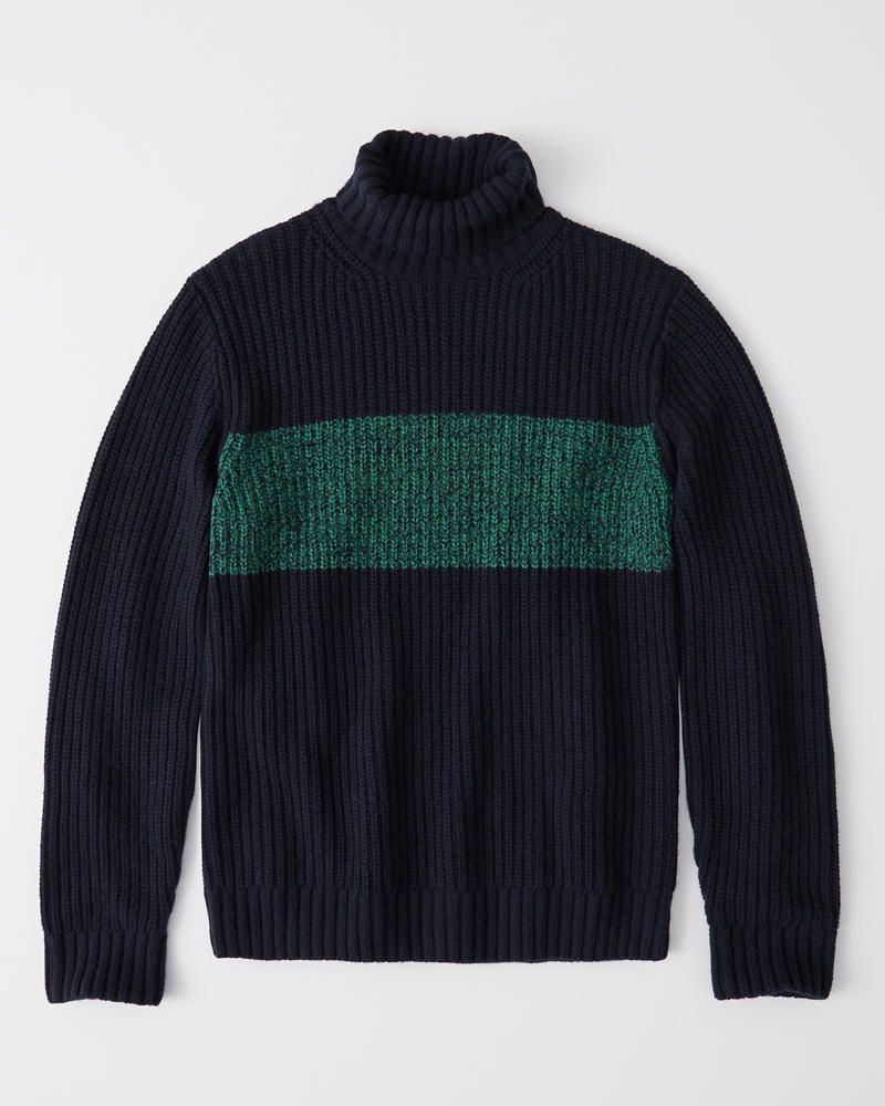 Chest Stripe Marled Turtleneck by Abercrombie & Fitch