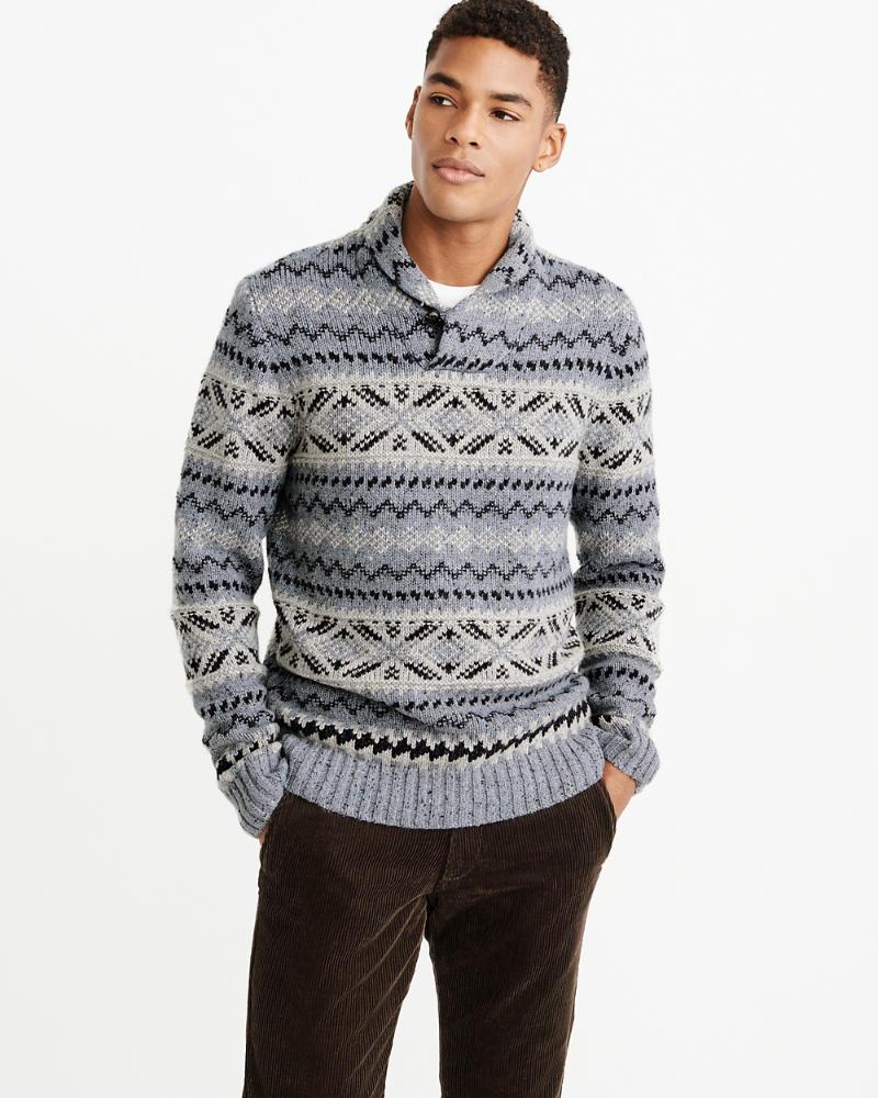 0e5157153 Mens Patterned Shawl Sweater
