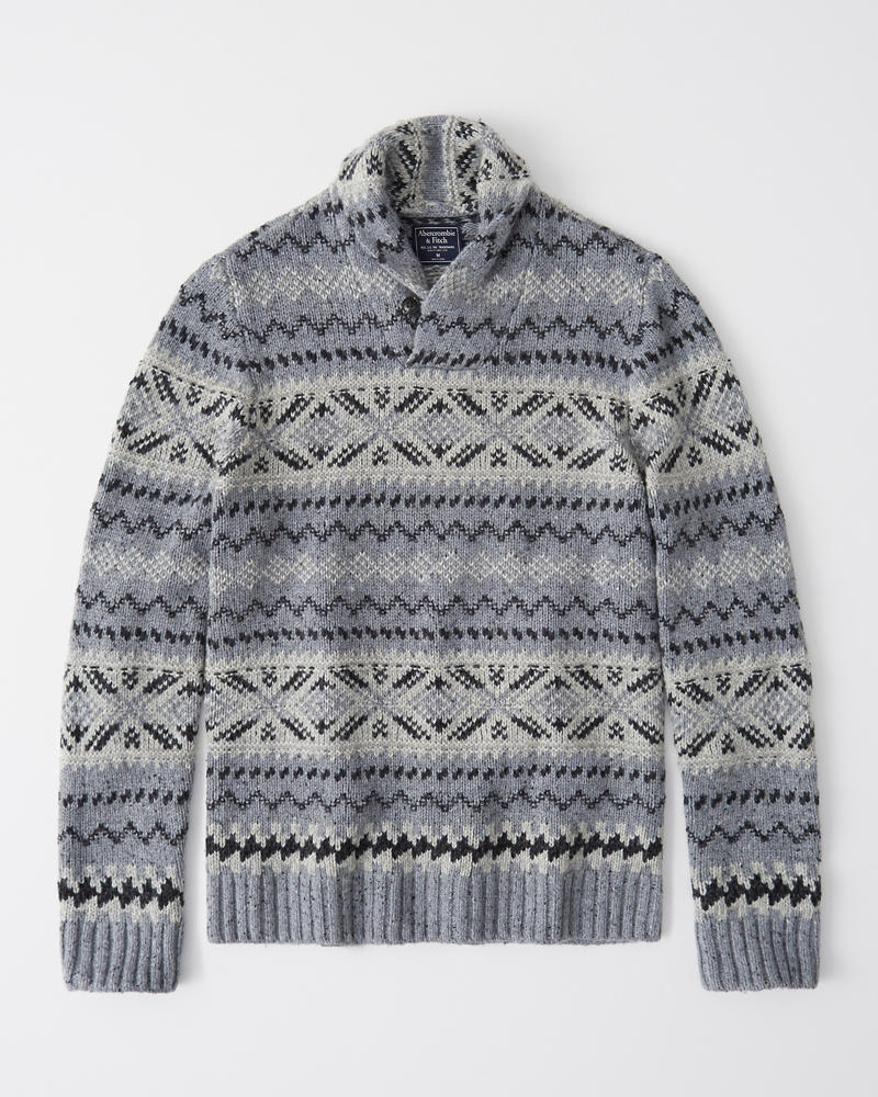 Mens Patterned Shawl Sweater | Mens Tops | Abercrombie.com