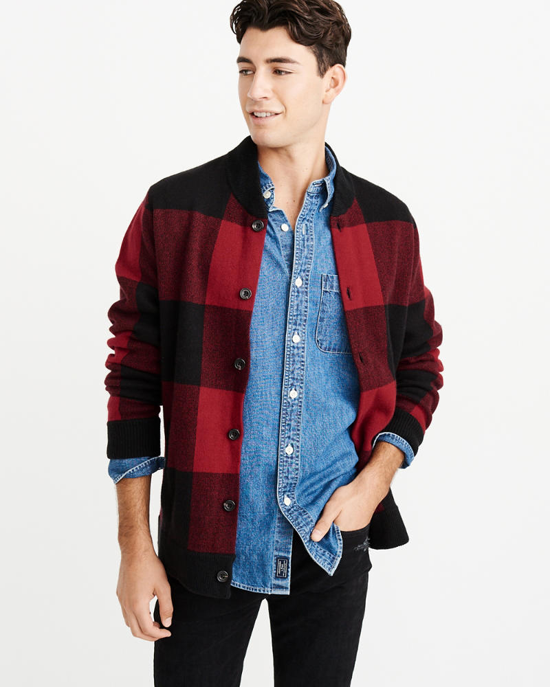 f5d5954d1 Mens Buffalo Check Bomber Sweater | Mens Clearance | Abercrombie.com