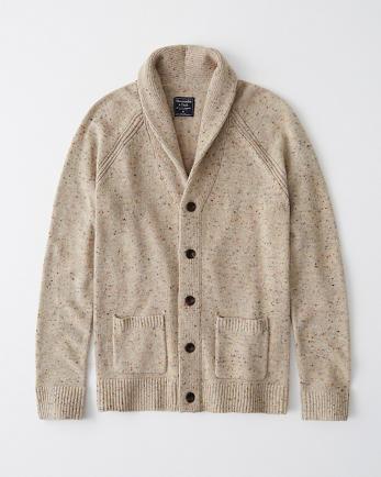ANFWool-Blend Donegal Shawl Cardigan