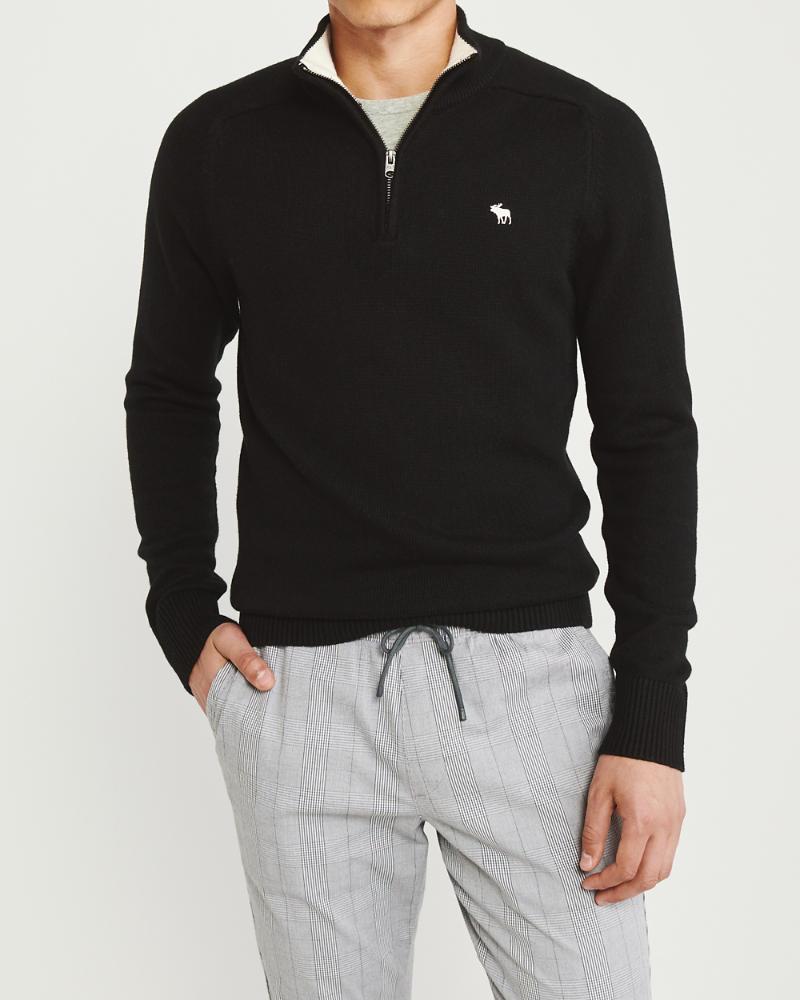 7fb1a8d9690 Mens The A&F Cotton Cashmere Half-Zip | Mens Tops | Abercrombie.com