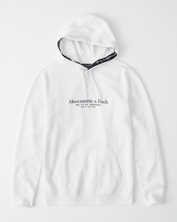 Mens Logo Tape Trim Hoodie | Mens Clearance | Abercrombie com