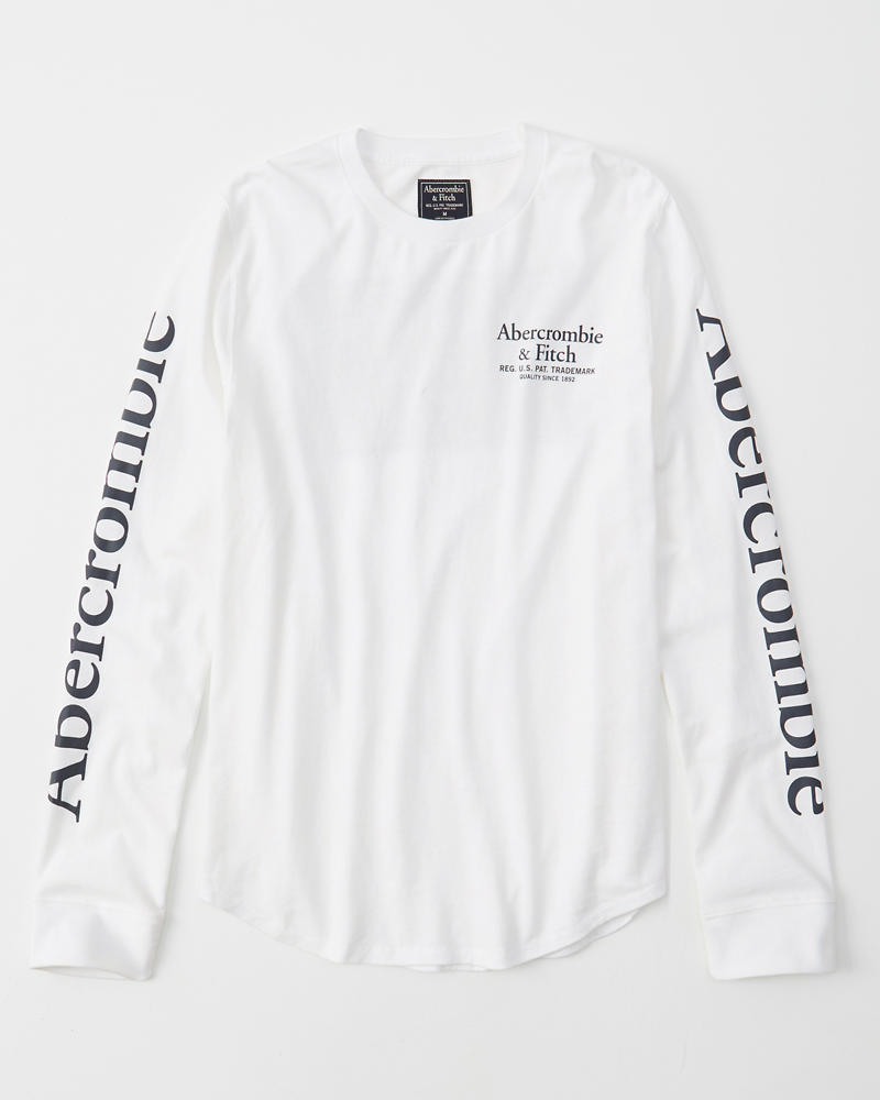 Long Sleeve Logo Curved Hem Tee by Abercrombie & Fitch