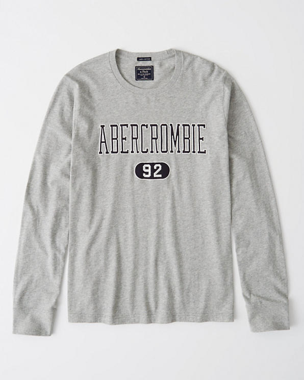 Mens Long-Sleeve Applique Logo Tee | Mens Up to 40% Off