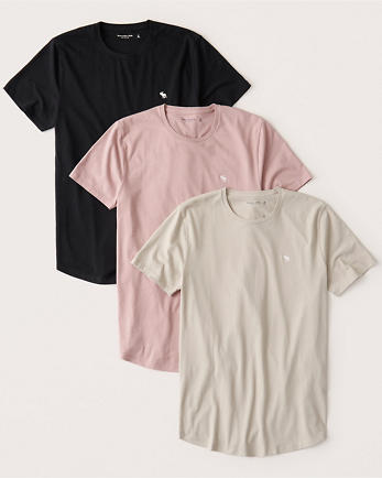 ANF3-Pack Icon Curved Hem Tee