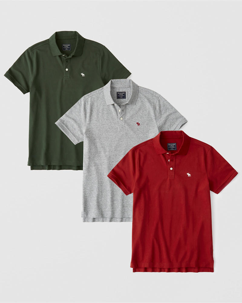3 Pack Stretch Polo by Abercrombie & Fitch