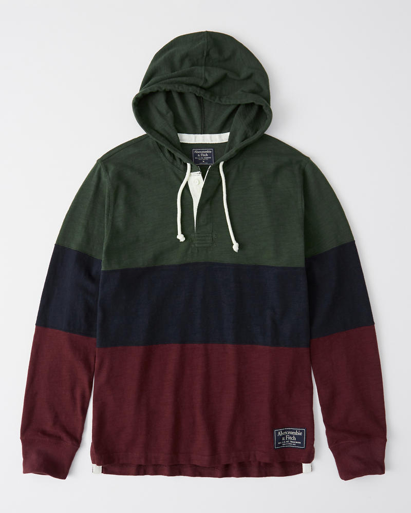 Colorblock Rugby Hoodie by Abercrombie & Fitch