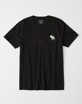 fae8f39a48ac4 Camiseta de manga corta con cuello en V e icono grande