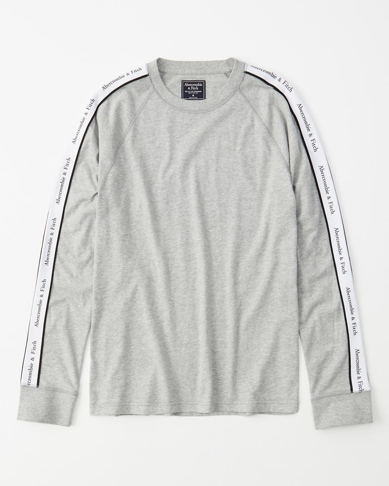Long Sleeve Logo Tape Tee by Abercrombie & Fitch