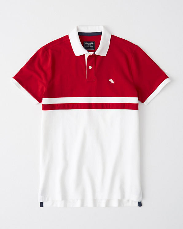 Mens Colorblock Stretch Icon Polo | Mens Tops | Abercrombie