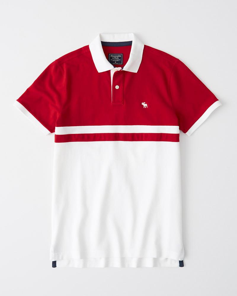 Hombre Polo elastizado con ícono en colores combinados  288a73fdfea83