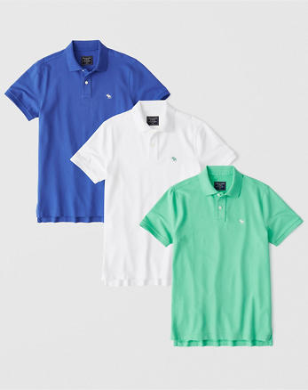 8d9c708f432c 3-Pack Stretch Polo, BLUE - WHITE - TURQUOISE GREEN