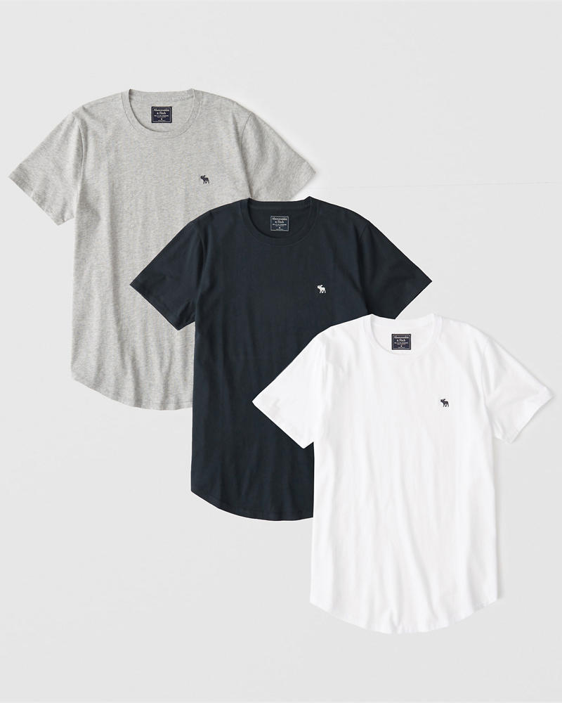3 Pack Curved Hem Icon Crew Tee by Abercrombie & Fitch
