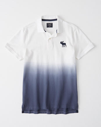 93d29854c Exploded Icon Stretch Polo, NAVY BLUE DIP DYE