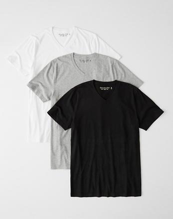 019bb52b 3-Pack Slim V-Neck Tee, BLACK - GREY - WHITE