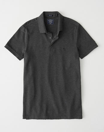 ff5080d2f Concealed Placket Polo, DARK HEATHER GREY