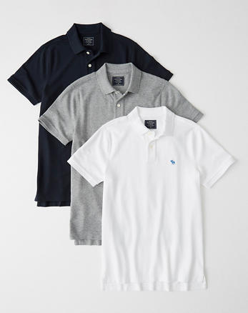 0ded48e214b7 3-Pack Stretch Icon Polo, WHITE - GREY - NAVY BLUE