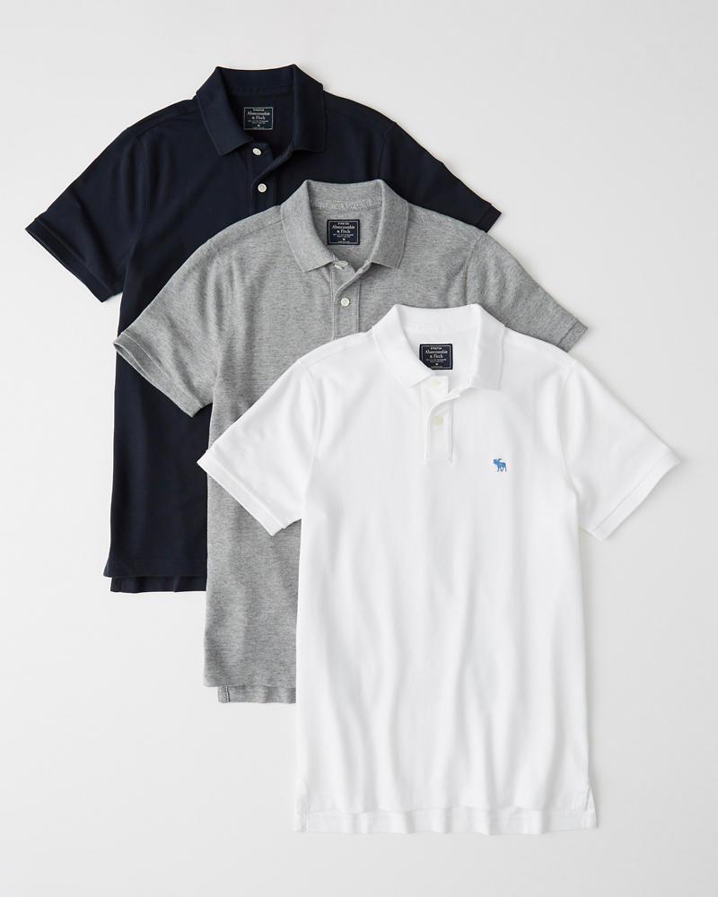 neueste art Details für tolle sorten Herren Stretch-Polos im 3er-Pack mit Symbol | Herren ...