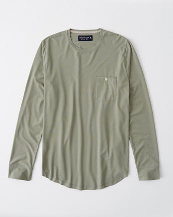 ANFLong-Sleeve Pima Cotton Pocket Tee