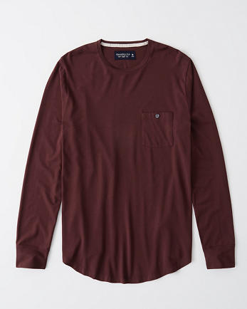 ANFLong-Sleeve Pima Cotton Pocket Tee