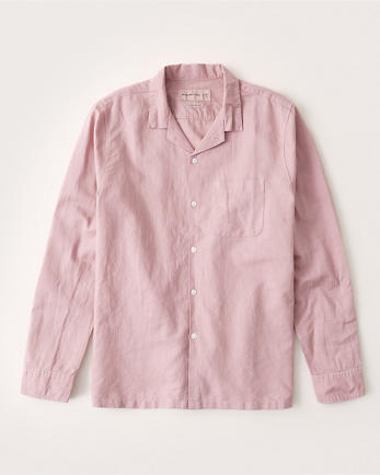 ANFLinen-Blend Resort Collar Button-Up Shirt