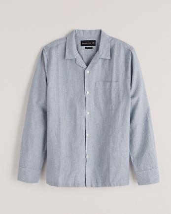 ANFLinen-Blend Button-Up Shirt