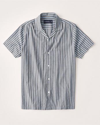 ANFShort-Sleeve Camp Collar Button-Up Shirt